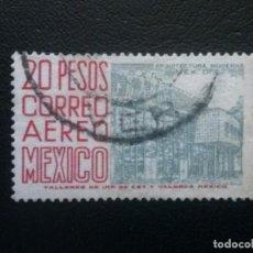Sellos: MÉJICO MÉXICO , CORREO AÉREO , YVERT Nº 232, 1962-63 , ARQUITECTURA , FILIGRANA F, DENT. 14. Lote 86975740