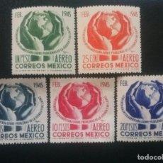Sellos: MÉJICO MÉXICO , CORREO AÉREO, YVERT Nº 134 - 138 , SERIE COMPLETA , 1945. Lote 87327116