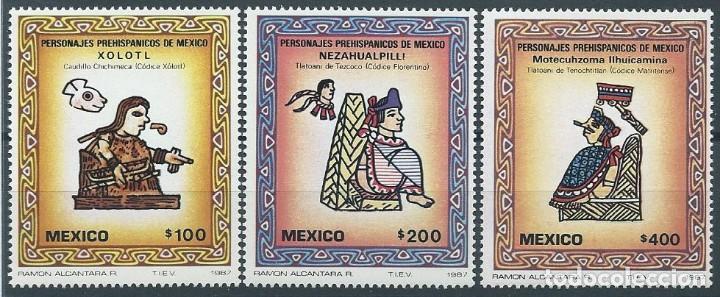 AÑO 1987. SERIE COMPLETA. MINT. 3 VALORES. PERSONAJES PREHISPÁNICOS DE MÉXICO. (Sellos - Extranjero - América - México)