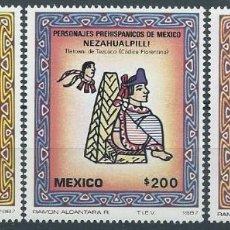 Sellos: AÑO 1987. SERIE COMPLETA. MINT. 3 VALORES. PERSONAJES PREHISPÁNICOS DE MÉXICO.. Lote 118530735