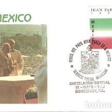Sellos: MEXICO & FDC VISITA DE SUA SANTIDADE O PAPA JOÃO PAULO II, MONTERREY 1990 (9378). Lote 134843086
