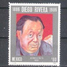 Sellos: MÉXICO Nº 1176** CENTENARIO DEL NACIMIENTO DEL PINTOR DIEGO RIVERA. COMPLETA. Lote 136523218