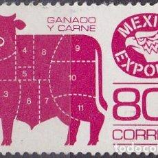 Sellos: 1975 - MEXICO EXPORTA - GANADO Y CARNE - YVERT 825F. Lote 151187090