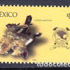 Sellos: MEXICO 2004 .- 100 AÑOS DE LA SOCIEDAD GEOLOGICA MEXICANA - MINERAL CUARZO AMATISTA. Lote 155850902