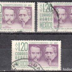Sellos: MEXICO - TRES SELLOS - IVERT #PA247 - ***CONSTITUCION DE 1857***- AÑO 1964 - USADOS. Lote 159034106
