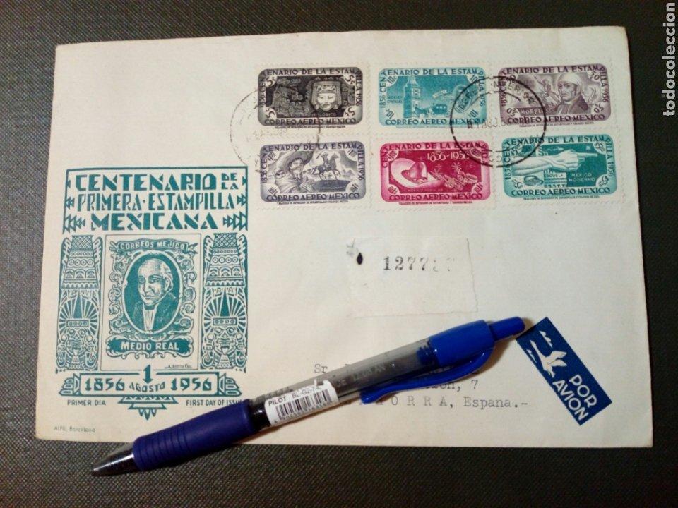 SOBRE CIRCULADO PRIMER DÍA - CENTENARIO DE LA PRIMERA ESTAMPILLA MEXICANA (AGOSTO-1956) (REF.1) (Sellos - Extranjero - América - México)