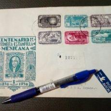 Sellos: SOBRE CIRCULADO PRIMER DÍA - CENTENARIO DE LA PRIMERA ESTAMPILLA MEXICANA (AGOSTO-1956) (REF.1). Lote 179336243