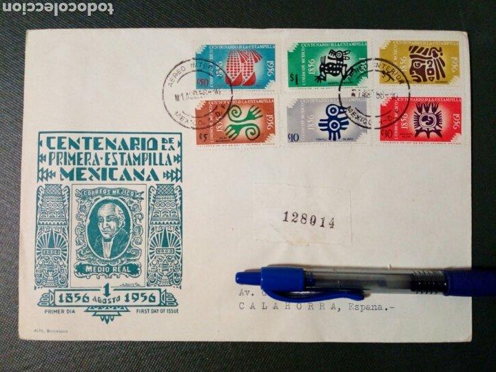 SOBRE CIRCULADO PRIMER DÍA - CENTENARIO DE LA PRIMERA ESTAMPILLA MEXICANA (AGOSTO-1956) (REF.2) (Sellos - Extranjero - América - México)