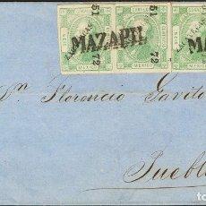 Sellos: MÉXICO. SOBRE 49(4). (1872CA). 6 CTVOS VERDE, CUATRO SELLOS (SOBRECARGA ZACATECAS 51 / 72). MAZAPIL. Lote 183165631