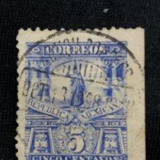 Sellos: CORREO DE MEXICO, 5 CTS, MONUMENTO CUAUHTEMOC, AÑO 1923, . Lote 184877078