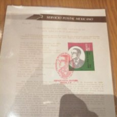 Sellos: HOJA PRIMER DÍA CENTENARIO NACIMIENTO ADOLFO RUIZ CORTINES. Lote 188696732