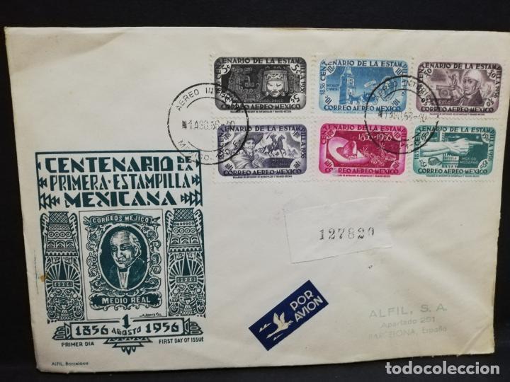SOBRE CIRCULADO PRIMER DIA - CENTENARIO DE LA PRIMERA ESTAMPILLA MEXICANA (AGOSTO-1956). (Sellos - Extranjero - América - México)