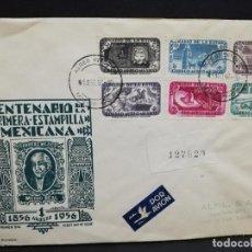 Sellos: SOBRE CIRCULADO PRIMER DIA - CENTENARIO DE LA PRIMERA ESTAMPILLA MEXICANA (AGOSTO-1956).. Lote 190205967