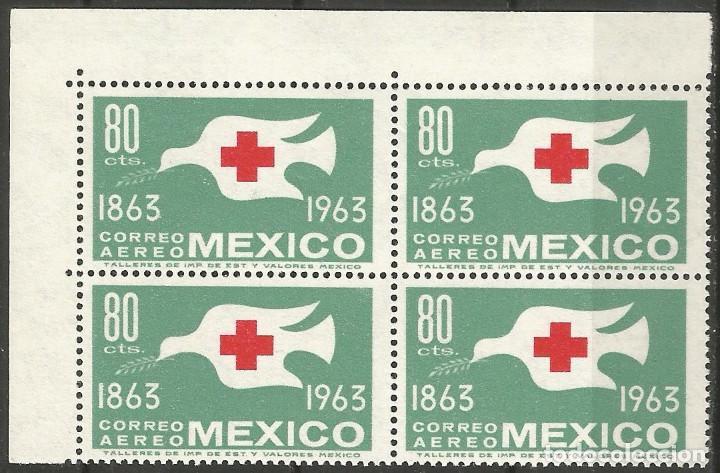MÉXICO - 100 AÑOS CRUZ ROJO - 2 BLOQUES DE 4 SELLOS NUEVOS CON GOMA Y BORDES (Sellos - Extranjero - América - México)