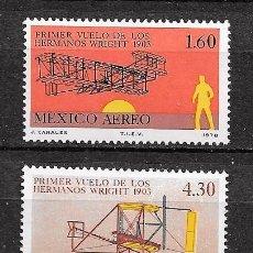 Sellos: MÉJICO,1978,HERMANOS WRIGHT,YVERT 492-493,NUEVOS,MNH**. Lote 269106593