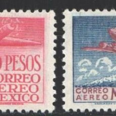 Francobolli: MÉXICO, AÉREO 1947 YVERT Nº 162 / 163 /*/, AVIACIÓN MEXICANA, EMILIO CARRANZA. Lote 199850368