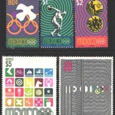 Francobolli: MÉXICO, AÉREO 1968 YVERT Nº 292 / 296 /**/, JUEGOS OLÍMPICOS 1968 - MÉXICO. Lote 199882991