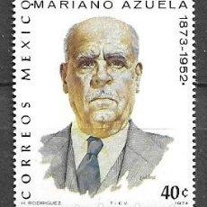 Sellos: MÉJICO,1974,MARIANO AZUELA,YVERT 801,NUEVO,MNH**. Lote 294371708