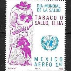 Sellos: MÉJICO,1989,CAMPAÑA ANTITABACO,YVERT 528 AÉREO,NUEVOS,MNH**. Lote 269105753