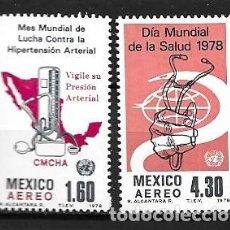 Sellos: MÉJICO,1978,SALUD,YVERT 456-457 AÉREO.NUEVOS,MNH**. Lote 287445763