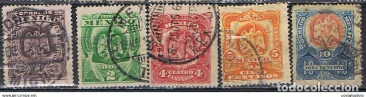 MEXICO // YVERT 190, 191, 192, 193, 194 // 1902-03 ... USADOS (Sellos - Extranjero - América - México)