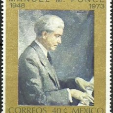 Sellos: MEXICO 1974 - MANUEL PONCE - PIANISTA - MUSICA - YVERT Nº 799**. Lote 207054550