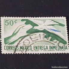 Sellos: MÉXICO, 1964, CORREO URGENTE, MANOS Y PALOMA, SCOTT E20, YVERT 16, MAT. NAOLINCO, ( LOTE AG ). Lote 218225781