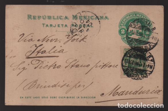 REPUBLICA MEXICANA- TARJETA POSTAL A ITALIA- - 2 MAS 2 CENTAVOS.- VERDE.-1904 VER FOTOS (Sellos - Extranjero - América - México)