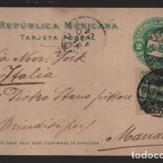 Sellos: REPUBLICA MEXICANA- TARJETA POSTAL A ITALIA- - 2 MAS 2 CENTAVOS.- VERDE.-1904 VER FOTOS. Lote 220694781