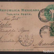 Sellos: REPUBLICA MEXICANA- TARJETA POSTAL A ITALIA- - 2 MAS 2 CENTAVOS.- VERDE.-1905 VER FOTOS. Lote 220694878