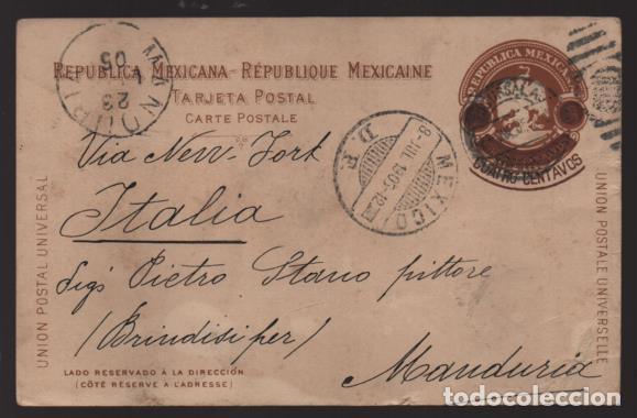 REPUBLICA MEXICANA- TARJETA POSTAL A ITALIA- - 4 CTV. SOBRE 3 CENTAVOS.- -1905 VER FOTOS (Sellos - Extranjero - América - México)