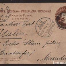 Sellos: REPUBLICA MEXICANA- TARJETA POSTAL A ITALIA- - 4 CTV. SOBRE 3 CENTAVOS.- -1905 VER FOTOS. Lote 220695010