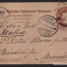 Sellos: REPUBLICA MEXICANA- TARJETA POSTAL A ITALIA- - 4 CTV. SOBRE 3 CENTAVOS.- -1903 VER FOTOS. Lote 220695070