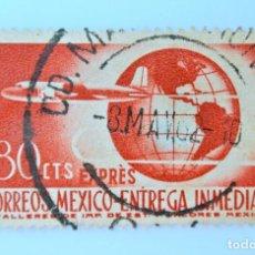Sellos: SELLO POSTAL MÉXICO 1956, 80 CTS, AVION Y GLOBO TERRAQUEO, CORREO EXPRES ENTREGA INMEDIATA, USADO. Lote 231973715