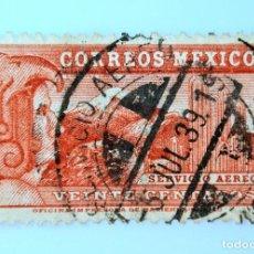 Sellos: SELLO POSTAL MÉXICO 1936, 20 CTS, SERVICIO AEREO,HOMBRE AGUILA, VOLCAN Y CATCTUS, USADO. Lote 232003630