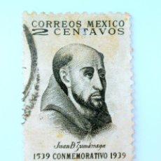 Sellos: SELLO POSTAL MÉXICO 1939, 2 CTS, FRAY JUAN DE ZUMARRAGA, IV CENTENARIO IMPRENTA EN MÉXICO, USADO. Lote 232012705