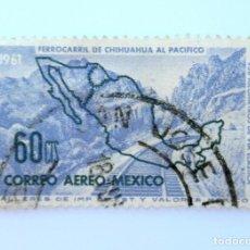 Sellos: SELLO POSTAL MÉXICO 1961, 60 CTS, FERROCARRIL DE CHIHUAHUA AL PACIFICO, USADO. Lote 232057895