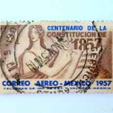 Sellos: SELLO POSTAL MÉXICO 1957, 1 $, CENTENARIO DE LA CONSTITUCION 1857 , USADO. Lote 232140080