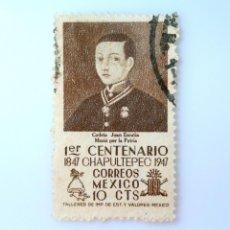 Sellos: SELLO POSTAL MÉXICO 1947, 10 C, 1ER CENTENARIO DE CHAPULTEPEC, CADETE JUAN ESCUTIA , USADO. Lote 232141745