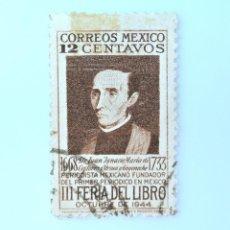 Sellos: SELLO POSTAL MÉXICO 1944, 12 CTS, III FERIA DEL LIBRO, JUAN M. DE CASTORENA, USADO. Lote 232187530