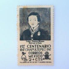 Sellos: SELLO POSTAL MÉXICO 1947, 2 CTS, 1ER CENTENARIO DE CHAPULTEPEC, CADETE FRANCISCO MARQUEZ, SIN USAR. Lote 232191755