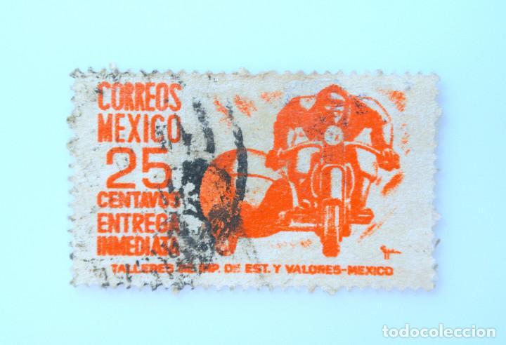 SELLO POSTAL MÉXICO 1951, 25 CTS, MENSAJERO EN SIDECAR, ENTREGA INMEDIATA, RAREZA, USADO (Sellos - Extranjero - América - México)
