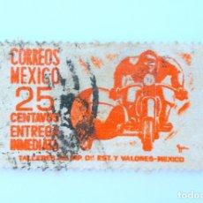 Sellos: SELLO POSTAL MÉXICO 1951, 25 CTS, MENSAJERO EN SIDECAR, ENTREGA INMEDIATA, RAREZA, USADO. Lote 232250845