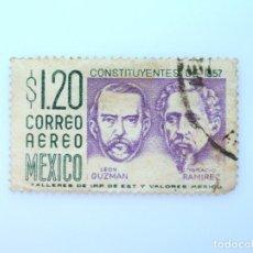 Sellos: SELLO POSTAL MÉXICO 1956, 1,20 $, CONSTITUYENTES DE 1857: LEON GUZMAN ,IGNACIO RAMIREZ, USADO. Lote 232252905