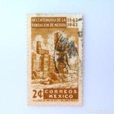 Sellos: SELLO POSTAL MÉXICO 1942, 2 CTS, IV CENTENARIO DE LA FUNDACIÓN DE MERIDA, COLUMNAS SERPIENTE, USADO. Lote 232256915
