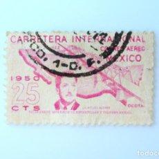 Sellos: SELLO POSTAL MÉXICO 1950, 25 CTS, CARRETERA INTERNACION CD. JUAREZ,LIC. MIGUEL ALEMÁN, USADO. Lote 232316475