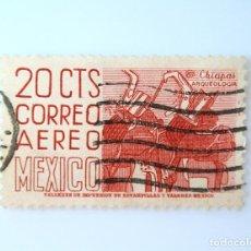 Sellos: SELLO POSTAL MÉXICO 1950, 20 CTS, ARQUEOLOGIA , CHIAPAS, PINTURA MURAL DE BONAMPAK, RAREZA, USADO. Lote 232322210