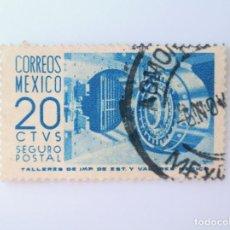 Sellos: SELLO POSTAL MÉXICO 1956, 20 CTS, BOVEDA DE BANCO, SEGURO POSTAL, CARTA ASEGURADA, USADO. Lote 232324605