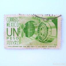 Sellos: SELLO POSTAL MÉXICO 1954, 1 $ , BOVEDA DE BANCO , SEGURO POSTAL, USADO. Lote 232413536