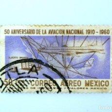 Sellos: SELLO POSTAL MÉXICO 1960, 50 CTS, 50 ANIVERSARIO DE LA AVIACIÓN NACIONAL, USADO. Lote 232485235